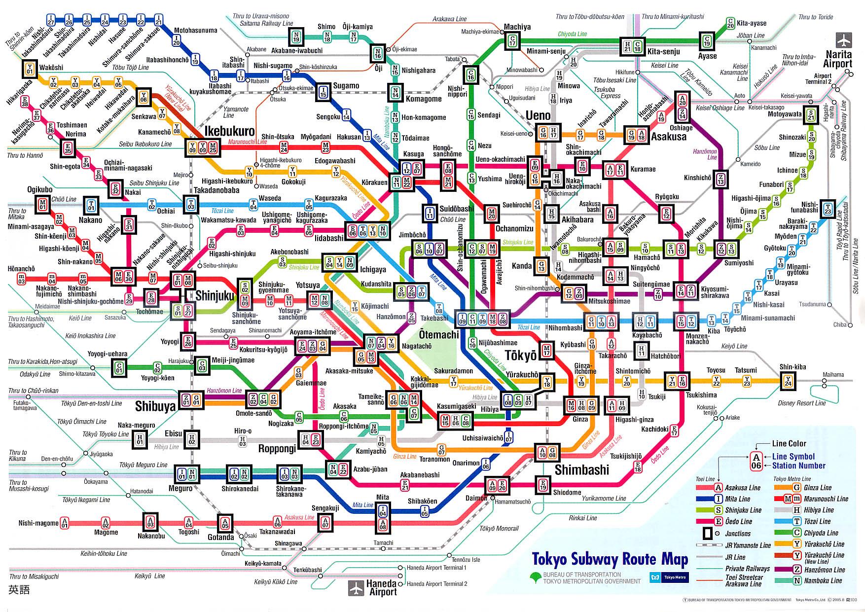 Tokyo subway map 2008 english